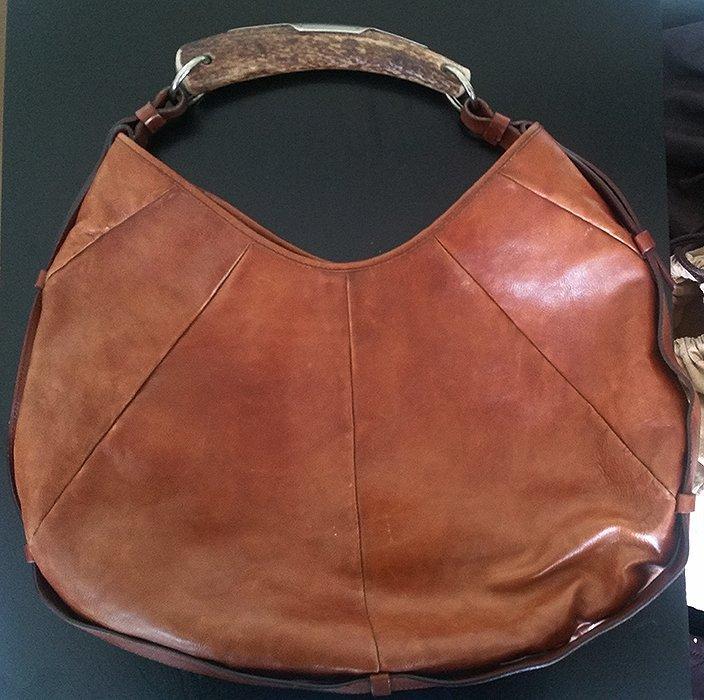Yves Saint Laurent YSL Large Cognac Mombasa Horn Bag