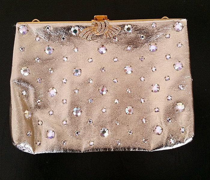 Vintage Delill Leather & Crystal Gold Clutch Bag