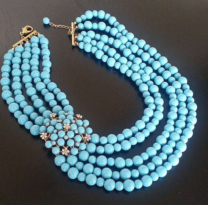 Beautiful! Turquoise color Beaded Multi Strand Necklace