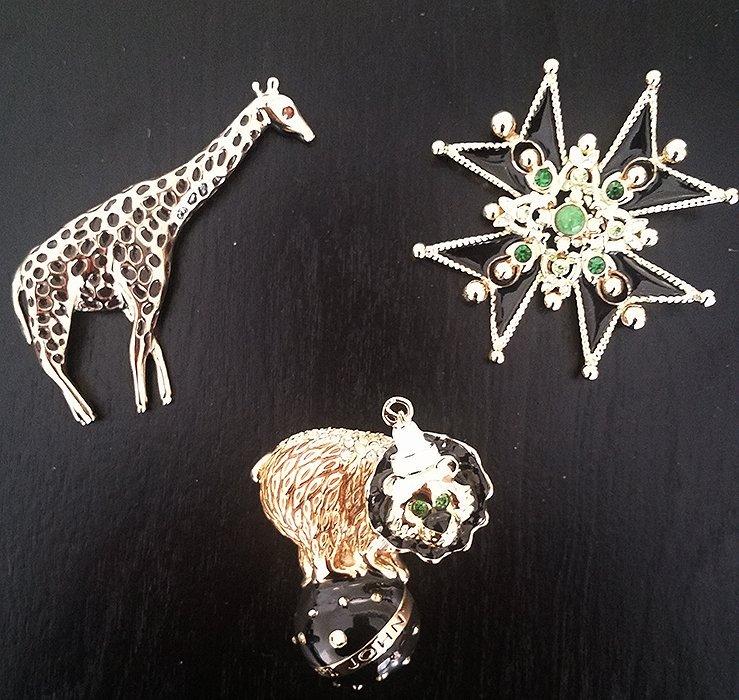 Lot of Three St John Knits Signed Designer Pins Brooch