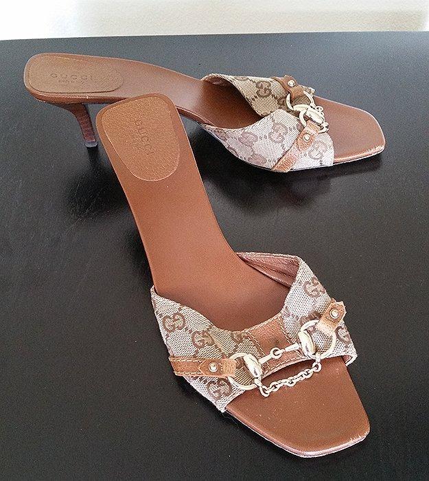 Authentic Gucci Horsebit & Logo Sandals 10.5