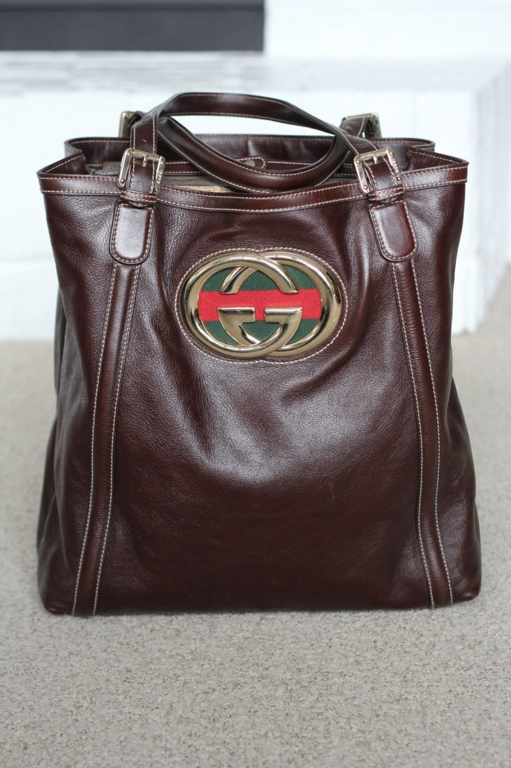 Gucci Extra Large Leather Britt Tote Bag