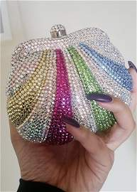 Stunning Spring Shades Crystal Covered Clutch Bag