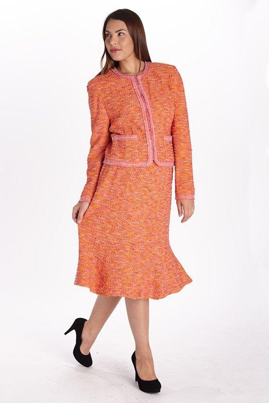 St John Knits Couture Orange Knit Skirt Suit 14/16
