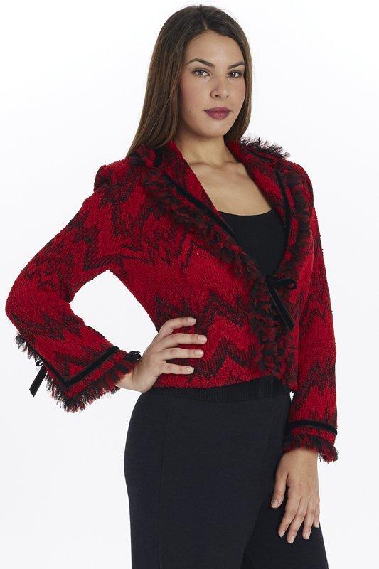 St John Knit Red & Black Novelty Knit Jacket (8)