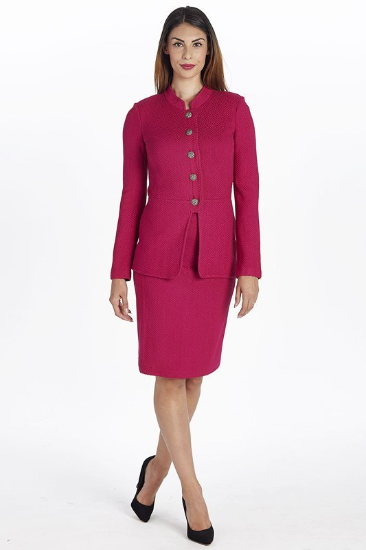 New St John Knits Raspberry Knit Skirt Suit (2)