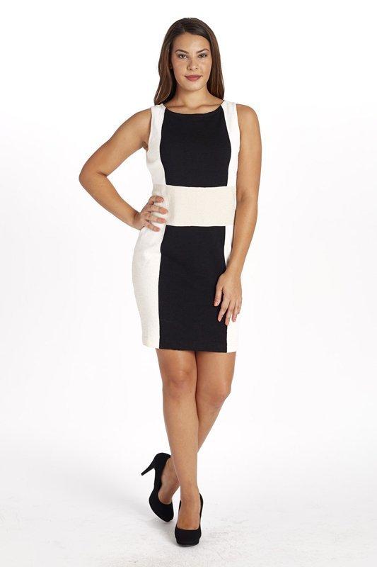 St John Knits Black, Tan & Off-White Knit Dress (8)
