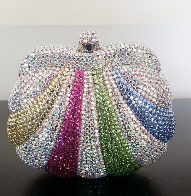 Stunning Spring Shades Crystal Covered Clutch Bag - 3