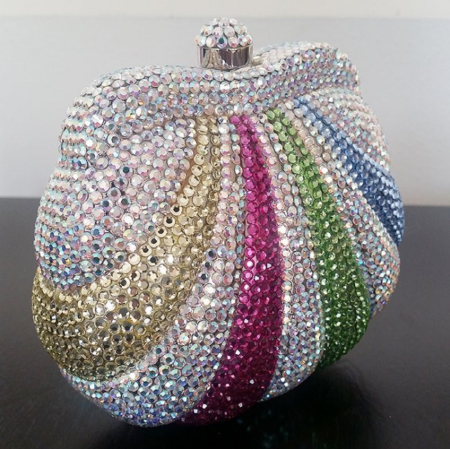 Stunning Spring Shades Crystal Covered Clutch Bag - 4