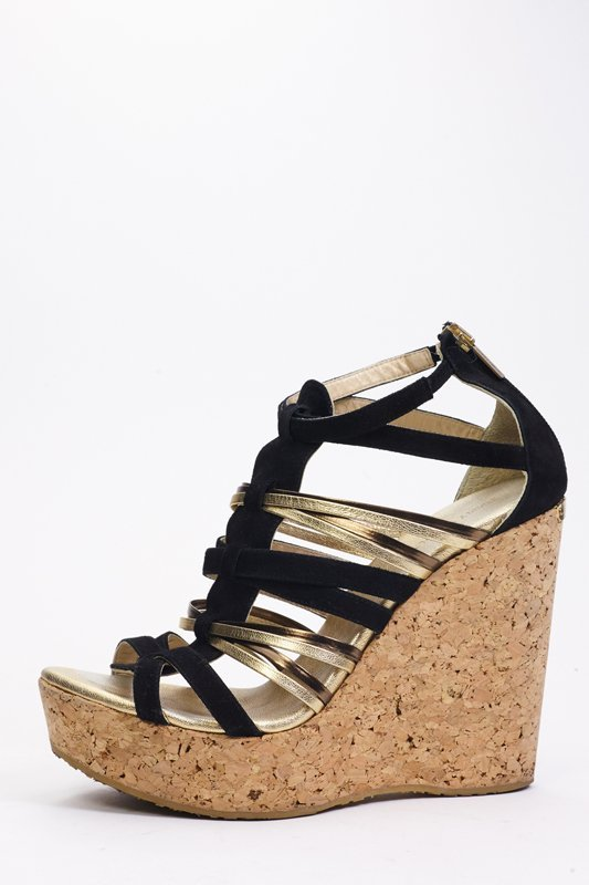 Jimmy Choo Black & Gold Strappy Wedges (9.5/40)