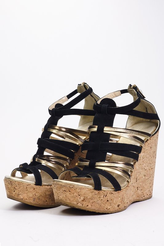 Jimmy Choo Black & Gold Strappy Wedges (9.5/40) - 2
