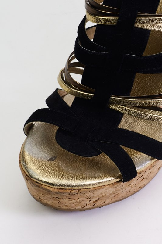 Jimmy Choo Black & Gold Strappy Wedges (9.5/40) - 3