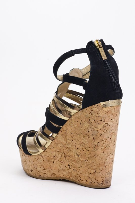 Jimmy Choo Black & Gold Strappy Wedges (9.5/40) - 4