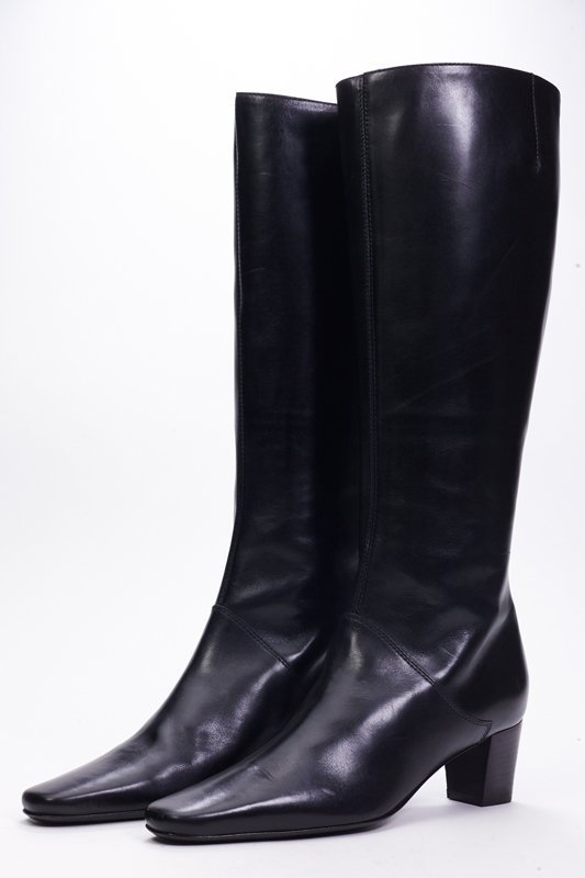 New St John Knits Black Leather Tall Boots (5.5)