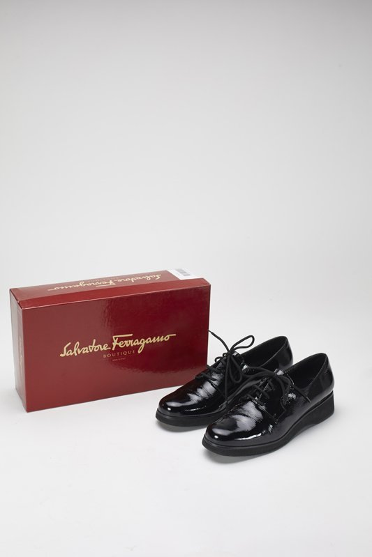 Ferragamo Power Black Patent Leather Wedges 8.5 Narrow