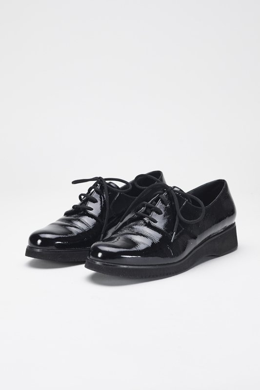 Ferragamo Power Black Patent Leather Wedges 8.5 Narrow - 2