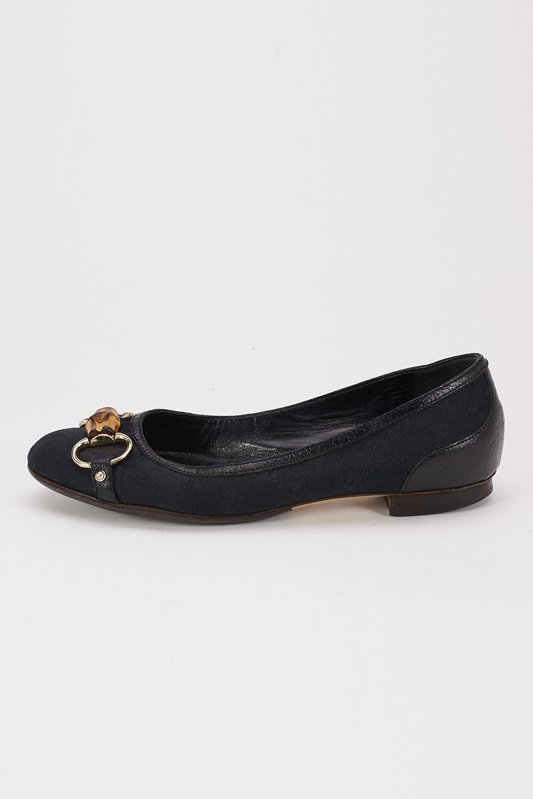 Gucci Black Canvas Flats with Bamboo Accent (6.5)