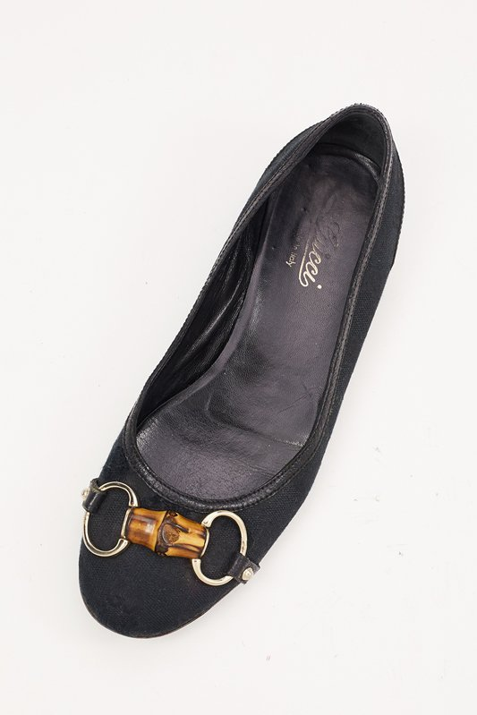 Gucci Black Canvas Flats with Bamboo Accent (6.5) - 2