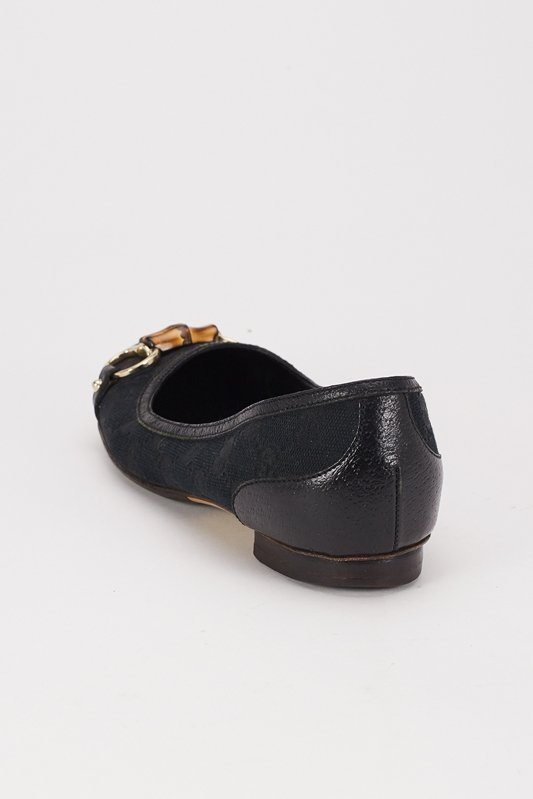 Gucci Black Canvas Flats with Bamboo Accent (6.5) - 4