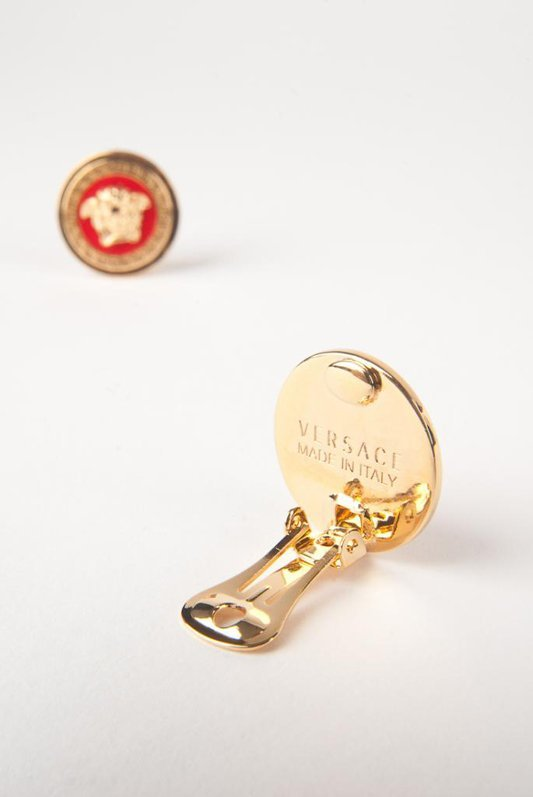 New Versace Red Medusa Clip Signature Earrings - 2