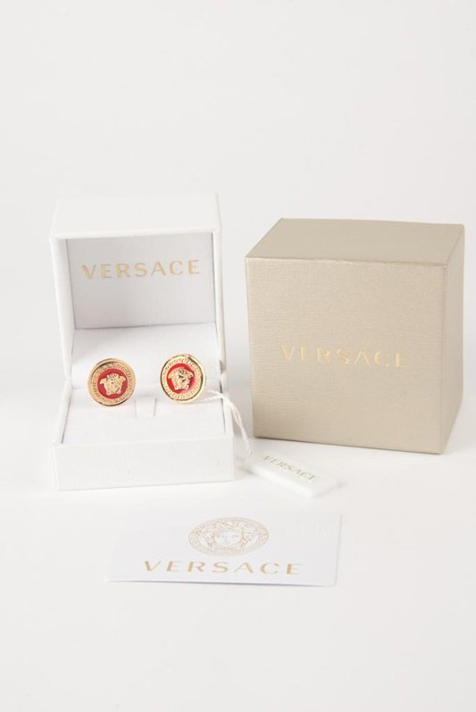 New Versace Red Medusa Clip Signature Earrings - 3