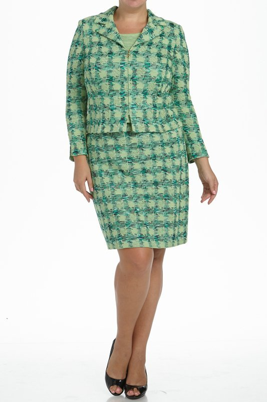 St John Knits Collection Green Knit 3PC Skirt Suit