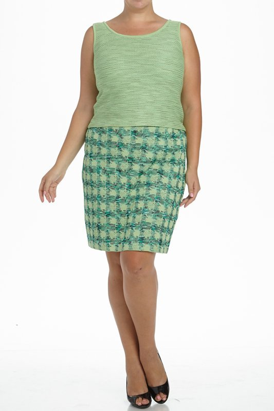 St John Knits Collection Green Knit 3PC Skirt Suit - 2