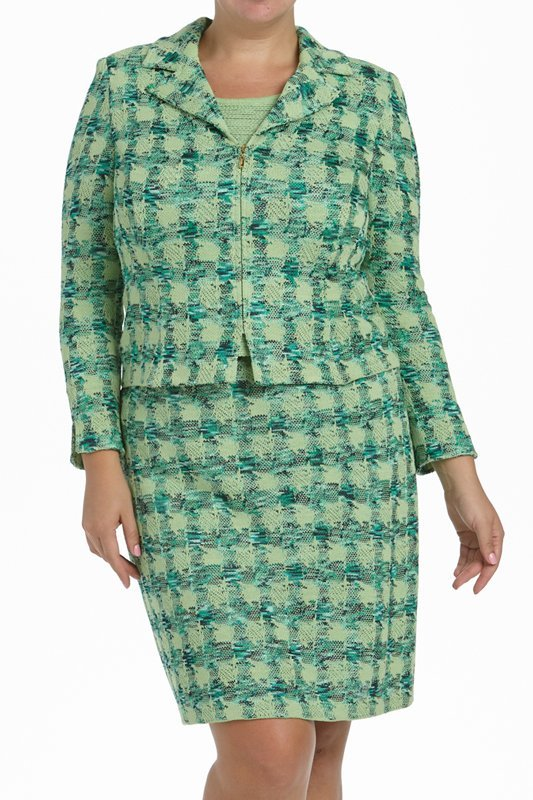 St John Knits Collection Green Knit 3PC Skirt Suit - 3