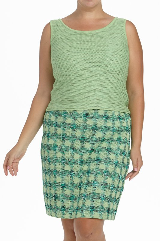St John Knits Collection Green Knit 3PC Skirt Suit - 4