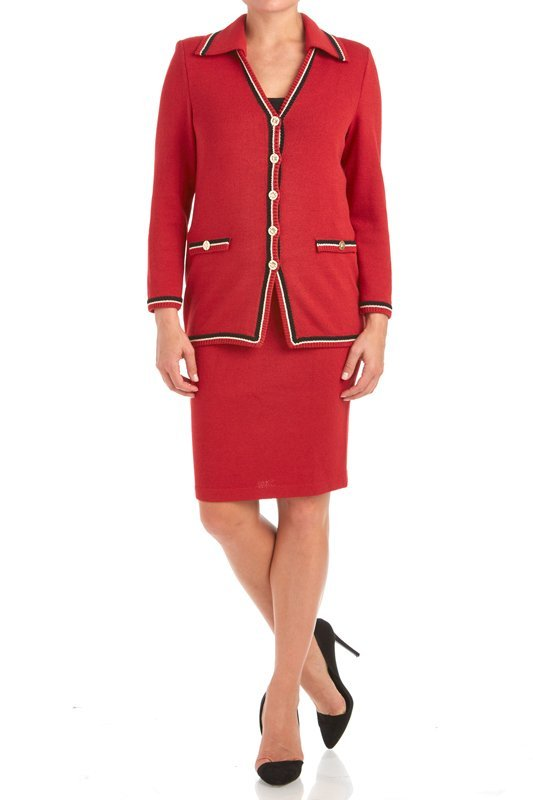 St John Knits Collection Red Santana Knit Skirt Suit