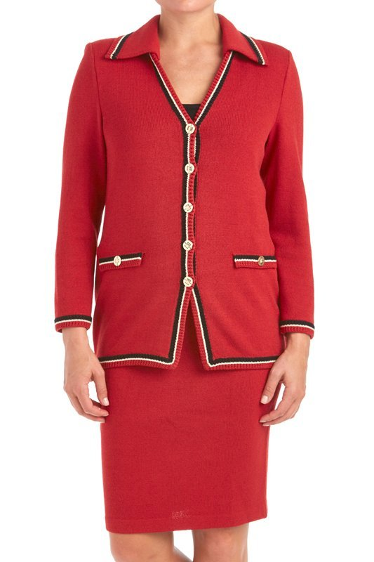 St John Knits Collection Red Santana Knit Skirt Suit - 2