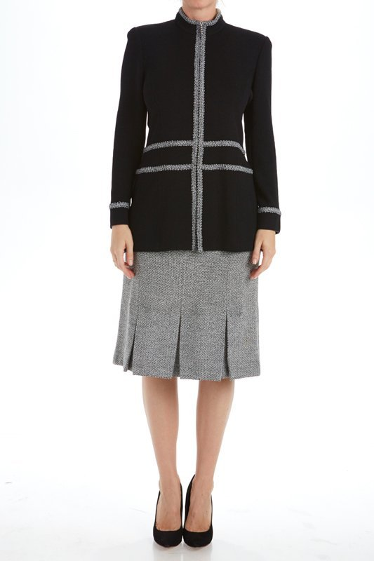 St John Knits Collection Black & Gray Knit Skirt Suit