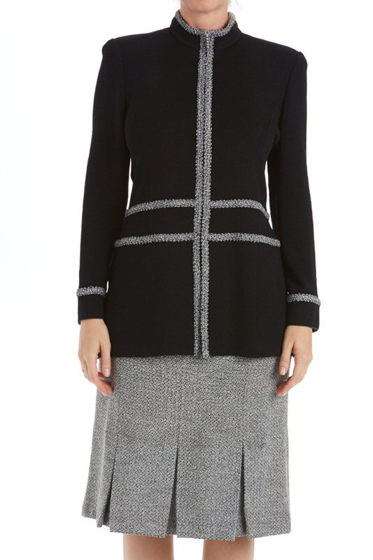 St John Knits Collection Black & Gray Knit Skirt Suit - 2