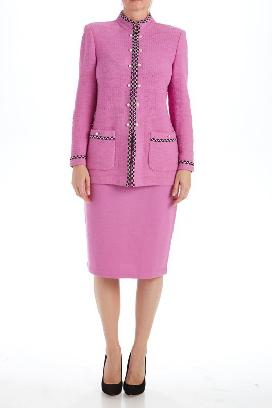 St John Knits Collection Pink Knit Skirt Suit (8/10)