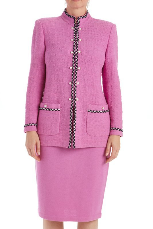 St John Knits Collection Pink Knit Skirt Suit (8/10) - 2