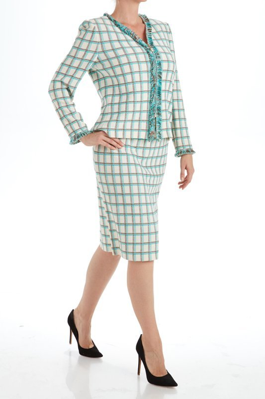 St John Knits Collection Plaid Knit Skirt Suit (6)