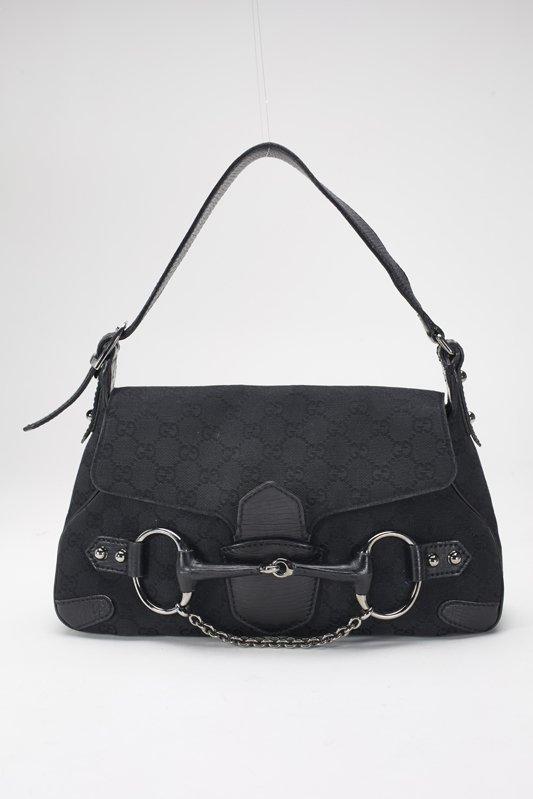 Gucci Black Monogram Horsebit Shoulder Bag