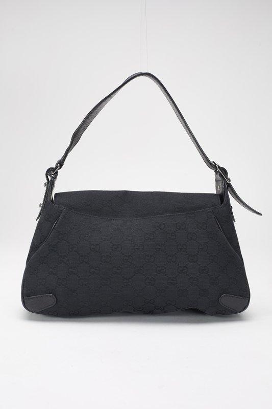 Gucci Black Monogram Horsebit Shoulder Bag - 2