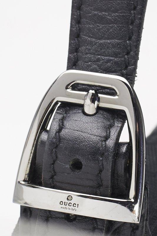 Gucci Black Monogram Horsebit Shoulder Bag - 3