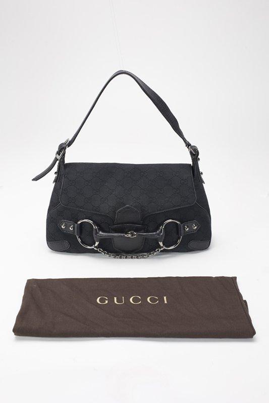 Gucci Black Monogram Horsebit Shoulder Bag - 5