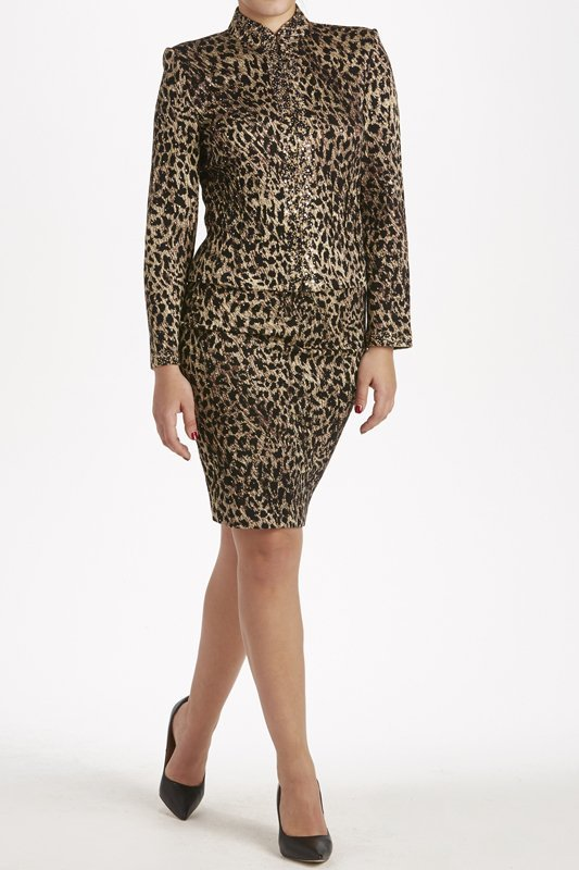 St John Knits Evening Leopard Print Knit Skirt Suit 8/6