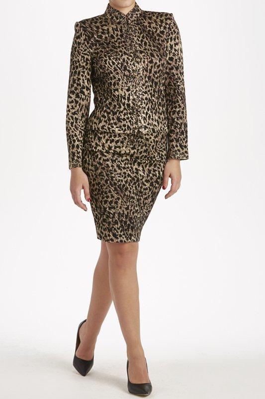 St John Knits Evening Leopard Print Knit Skirt Suit 8/6