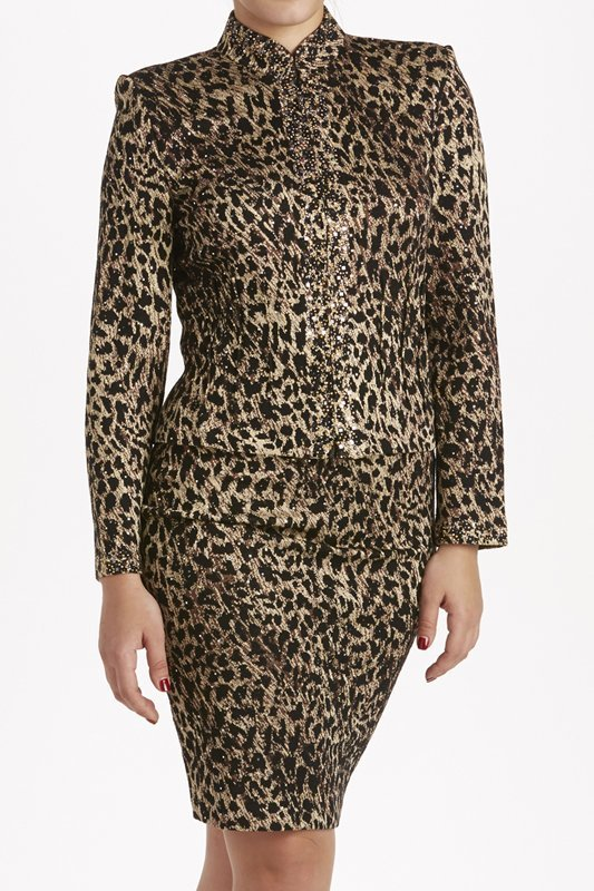 St John Knits Evening Leopard Print Knit Skirt Suit 8/6 - 2