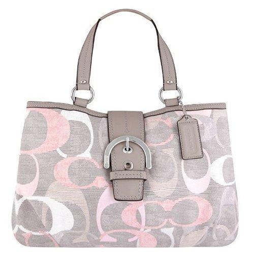 COACH Signature Large Soho Optic Linen Shoulder Bag
