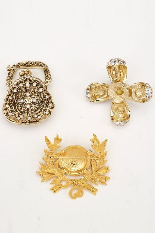 St John Knits Set of 3 Vintage Designer Brooches - 2
