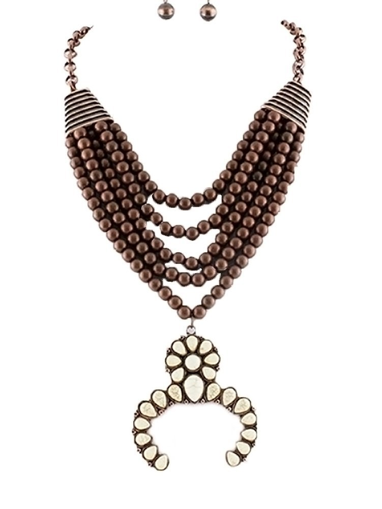 Tribal Squash Blossom Necklace & Earrings Set-Bronze