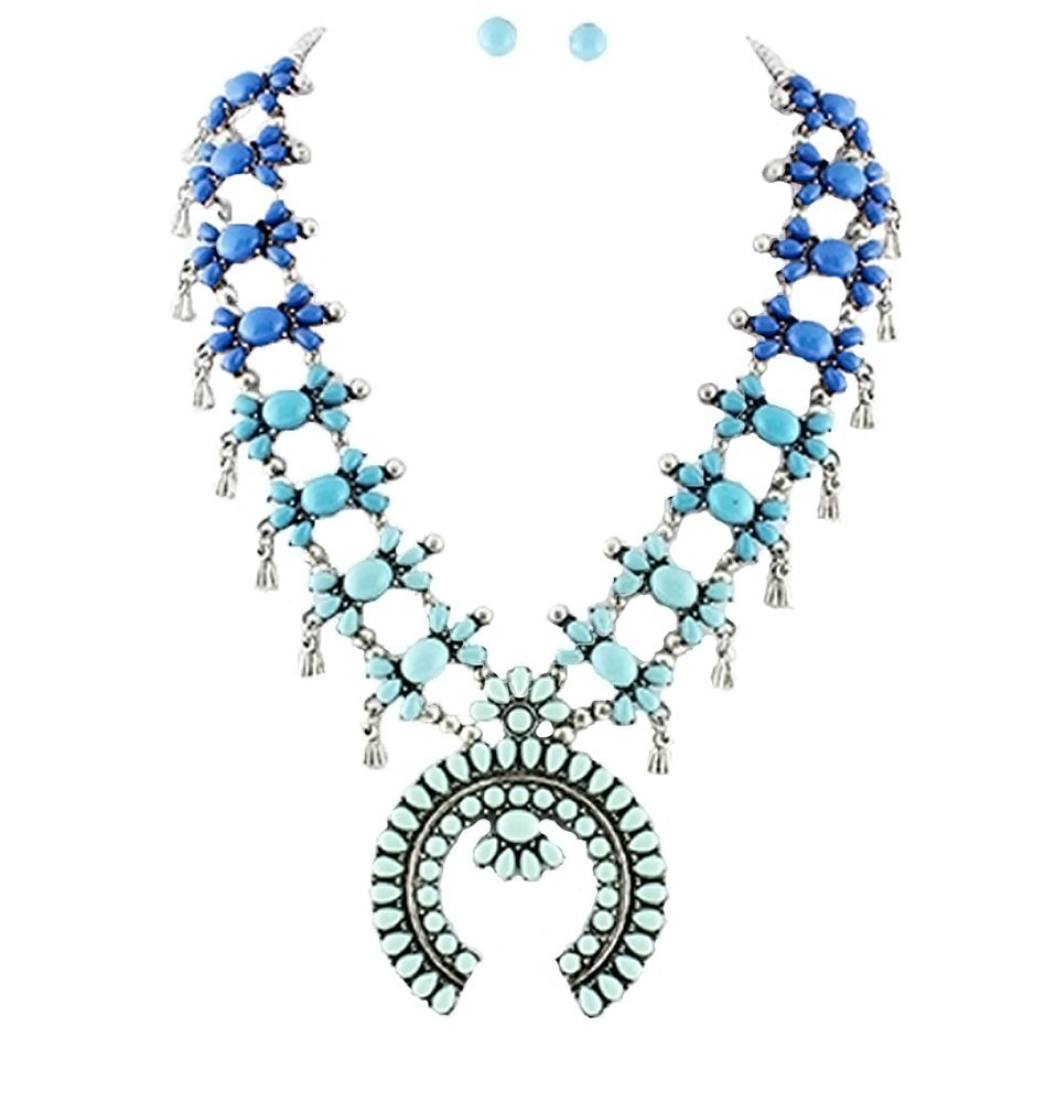 Tribal Squash Blossom Necklace & Earrings Set-Blue