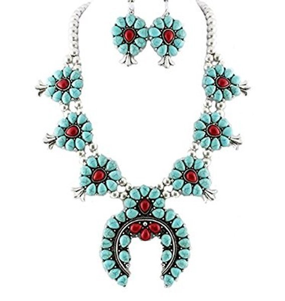 Tribal Squash Blossom Necklace & Earrings Set-Turquoise