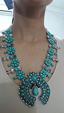 Tribal Squash Blossom Necklace & Bag-Turquoise - 2