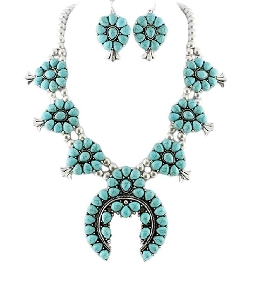 Tribal Squash Blossom Necklace & Earrings Set-Turq